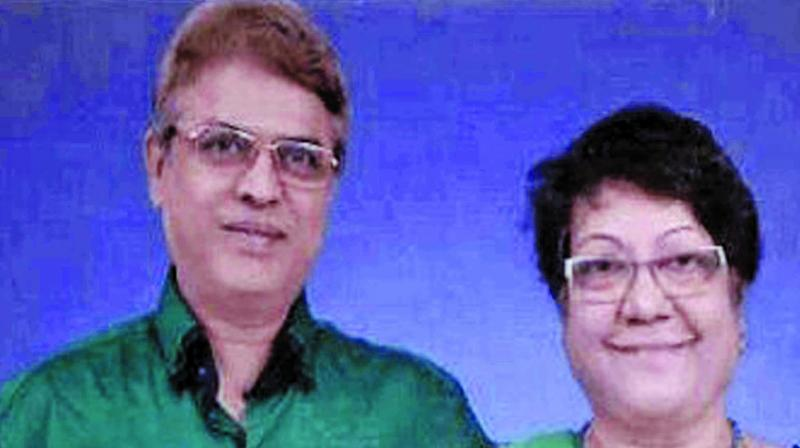 Indrajit Dutta  and his wife Jasmine Patel.