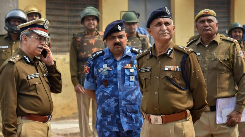 Delhi Police Special Commissioner (Law and Order) S N Shrivastava and Delhi Police Special Commissioner (Crime) Satish Golcha inspect Johar area of the riot-affected north east Delhi. PTI photo