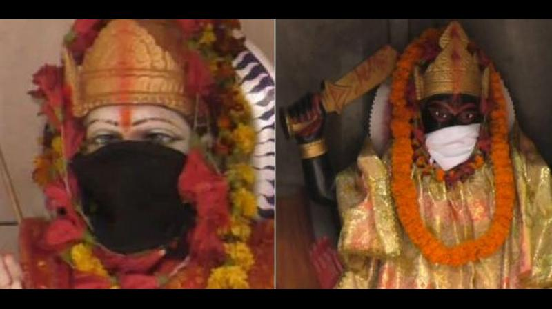 All the idols in the temple now have anti-pollution masks on them, except for Goddess Kali. (Photo: Twitter)