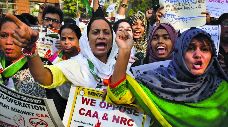A cross-section of the society joined hands to protest against the contentious Citizenship Amendment Act, 2019 at the historic August Kranti Maidan in South Mumbai on Thursday. (Photo: DEBASISH DEY)