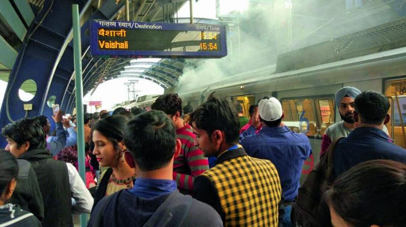 The incident caused panic among the commuters during the evening peak hours.
