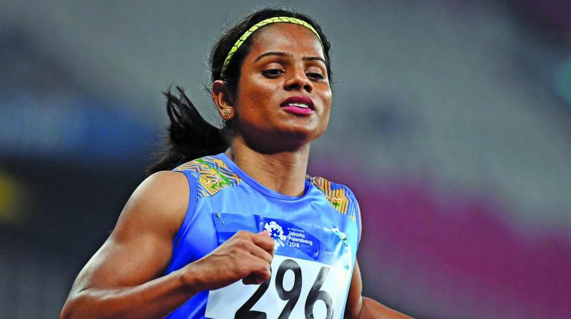 Dutee Chand had last week requested the External Affairs Minister S Jaishankar to help her get visa so that she could participate in a couple of competitions, and was subsequently granted the same after government intervention. (Photo:AFP)