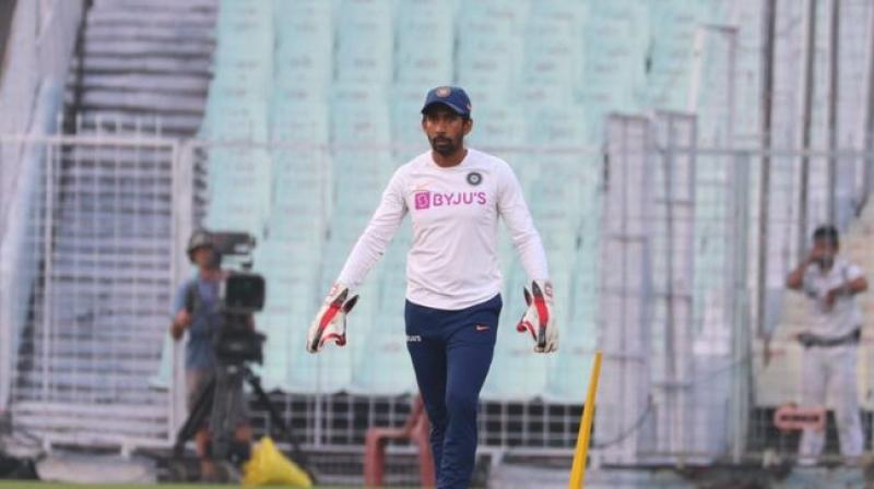 Indian wicket-keeper batsman Wriddhiman Saha is all geared up for the 'historic' day-night Test match. (Photo:TWitter)