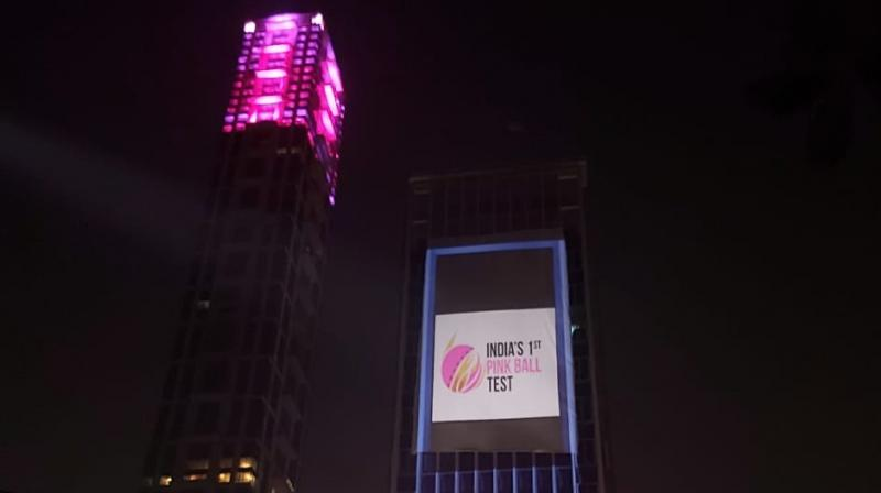 To mark the historic occasion of the first-ever day-night Test match between India and Bangladesh, the Tata Centre turned pink to pay tribute to the longest format of the game on Wednesday evening. (Photo:Twitter)
