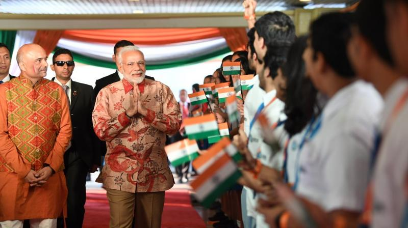 Prime Minister Narendra Modi addressed a gathering of Indian diaspora at the Jakarta Convention Centre in the Indonesian capital. (Photo: Twitter/@PIB_India)