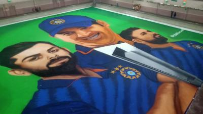 Indore artists make rangoli to cheer team India in T20 World Cup