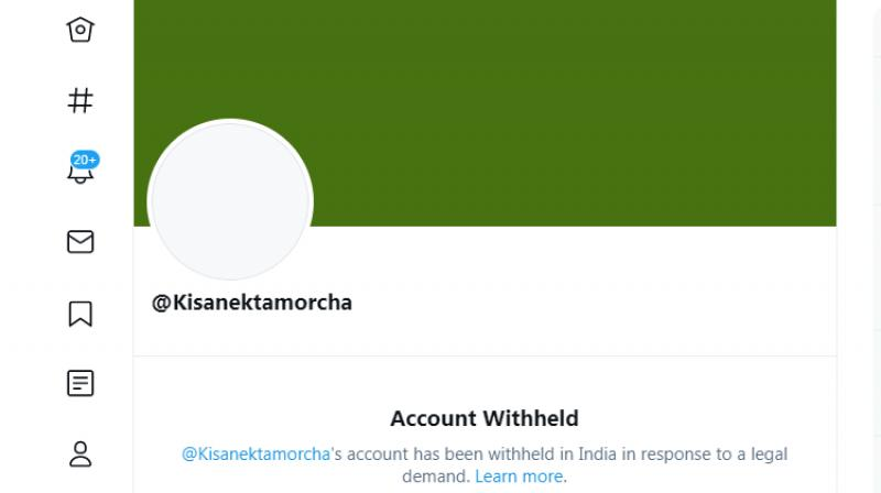 A screen capture of Kisan Ekta Morcha's account withheld by Twitter