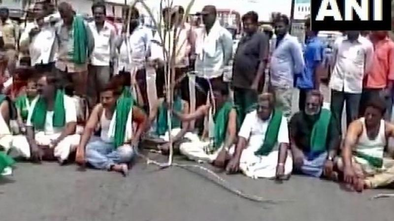 As the farmers' protest over water scarcity entered its eleventh day, protesters on Wednesday blocked the Bengaluru-Mysuru highway here. (Photo: ANI)