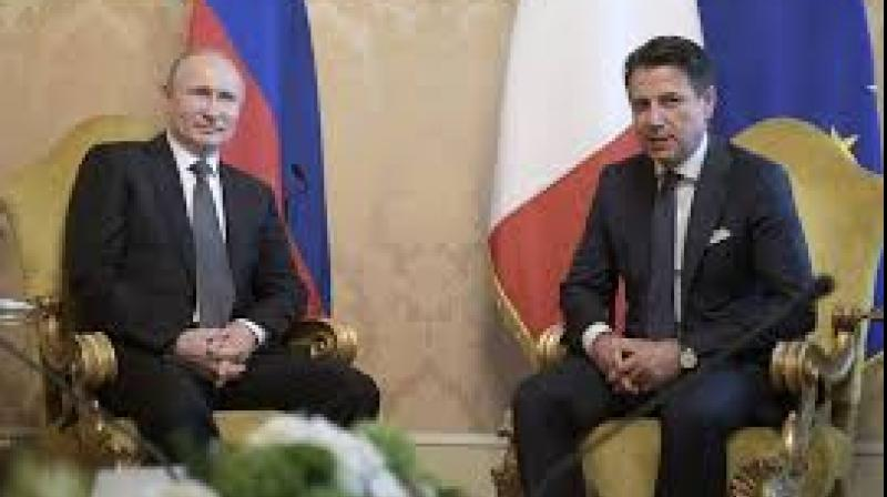 Russian President Vladimir Putin asked Italian Prime Minister Giuseppe Conte on Thursday for help in improving relations between the European Union and Russia and stop sanctions on Moscow. (Photo: AP)