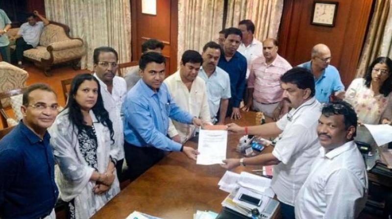 Led by Leader of Opposition Chandrakant Kavlekar, 10 of the 15 Congress MLAs in Goa joined the Bharatiya Janata Party (BJP) on Wednesday. (Photo: PTI)