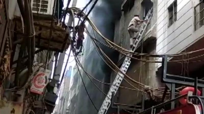 A fire broke out in a rubber factory in Jhilmil industrial area in Delhi on Saturday. (Photo: ANI)