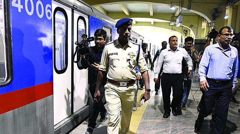 Commissioner of Railway Safety, Metro Division G.P. Garg (R) along with other officials inspects the Park Street Metro station where one person died in an accident on July 13, on Monday in Kolkata. (Photo: Abhijit Mukherjee)