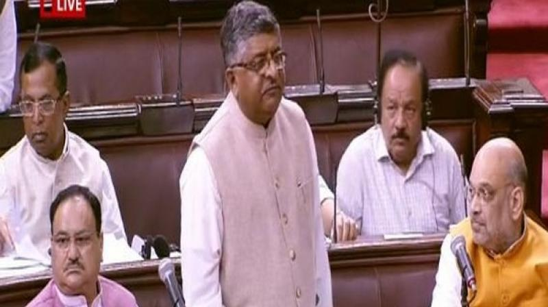 After getting a nod in Lok Sabha, Union Minister Ravi Shankar Prasad tabled the contentious triple talaq bill for consideration and passage in the Rajya Sabha on Tuesday. (Photo: Twitter/ ANI)