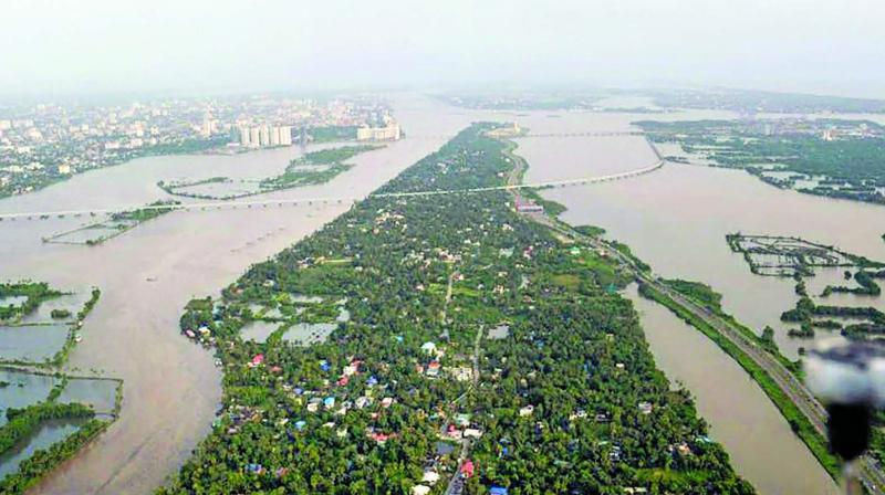 An aeriel view of the floods in Aluva after heavy rains in Kerala. (Photo: PTI)