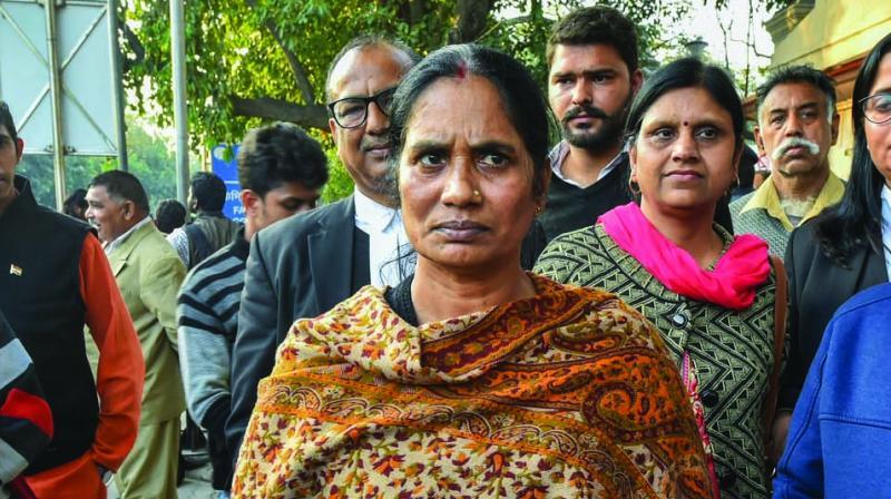 Nirbhaya's mother Asha Devi at Patiala House court in New Delhi on Thursday. (Photo: PTI)