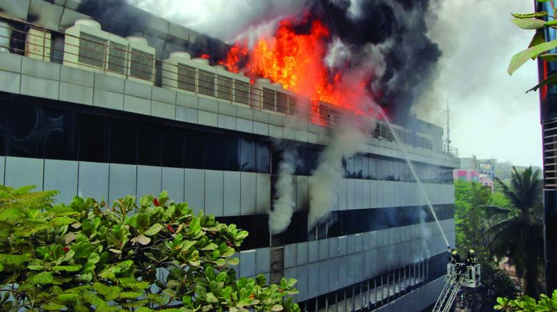 Fire broke out in a three-storey commercial building in Andheri on Thursday. (Photo:  Mrugesh Bandiwadekar)