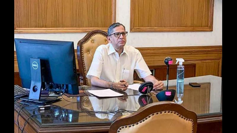 Justice N.V. Ramana launches a mobile app to grant access to the media to court proceedings without having to come physically to the Supreme Court, to help in their job of reporting. —  PTI
