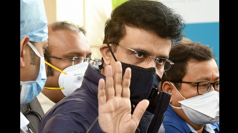 BCCI President Sourav Ganguly waves to his fans after he got discharged from a private hospital, in Kolkata, Sunday, Jan. 31, 2021. Ganguly underwent a fresh round of angioplasty on Thursday and two more stents were implanted to clear the 48- year-old cricket legend''s clogged coronary arteries. (PTI)