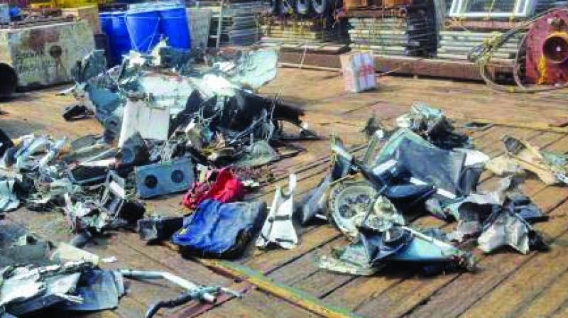 The debris of Pawan Hans helicopter.