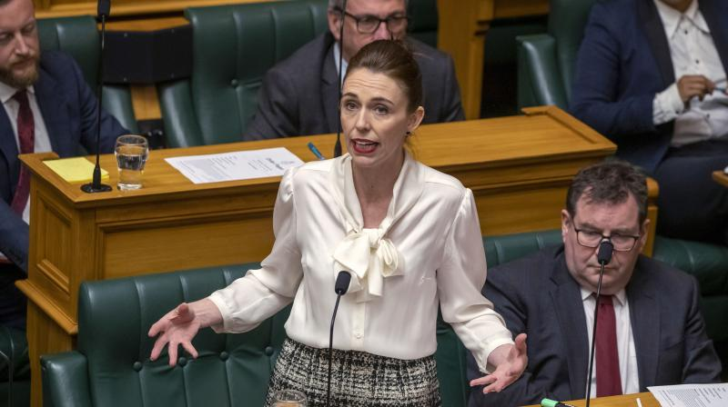 New Zealand's Prime Minister Jacinda Ardern moves a motion in the Parliament House in Wellington, New Zealand, to declare a climate emergency, Wednesday, Dec. 2, 2020. Joining more than 30 other countries around the world, New Zealand took the symbolic step of declaring a climate emergency. (AP)