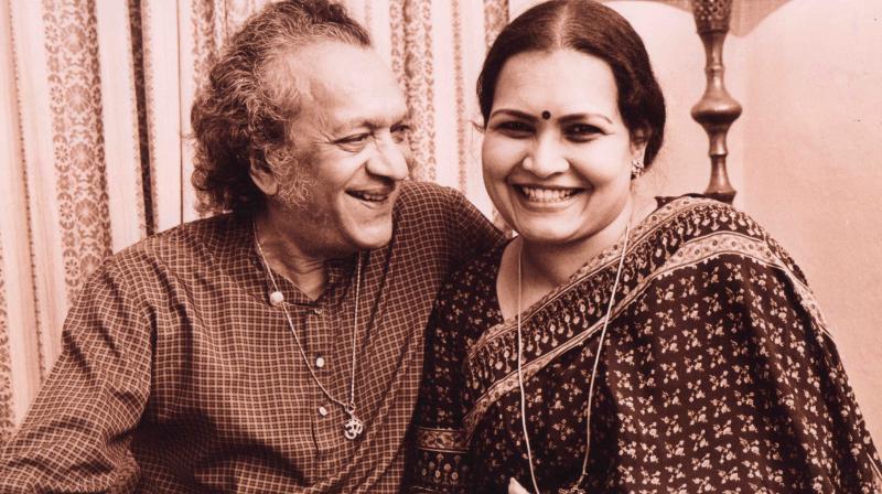 Pandit Ravi Shankar and wife Sukanya Shankar