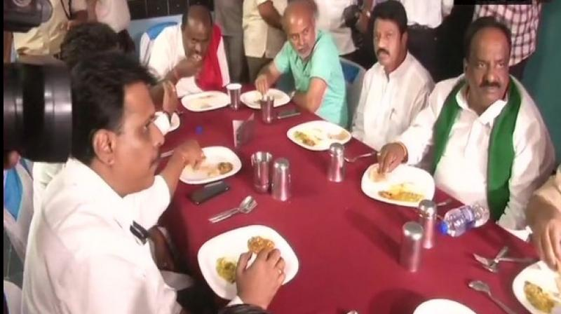 The Karnataka CM had earlier spent the night at Government Primary School in Chandraki village on June 21. (Photo: ANI)