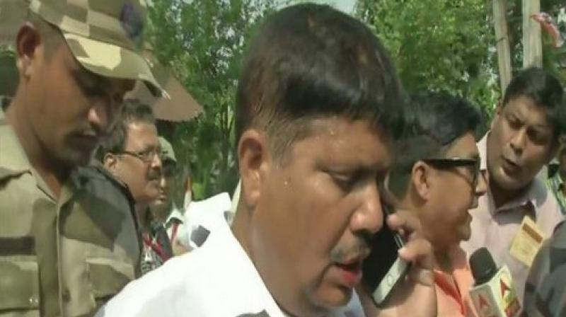 BJP MP from Barrackpore, Arjun Singh, said Trinamool Congress (TMC) delegation to Bhatpara will be welcomed with 'Jai Shri Ram' chants and added that the TMC was trying to reap benefits by coming after the BJP delegation in the area. (Photo: ANI)