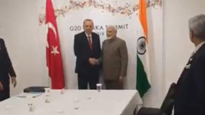 Prime Minister Narendra Modi on Saturday met with Turkish President Recep Tayyip Erdogan and held talks on a host of key issues including trade and investment, defence and counter-terrorism. (Photo: Twitter/ screengrab)