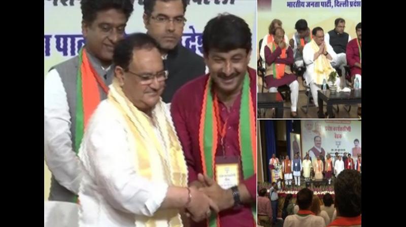 Union Minister Vijay Goel and Delhi BJP Chief Manoj Tiwari were also present at the event. (Photo: ANI)