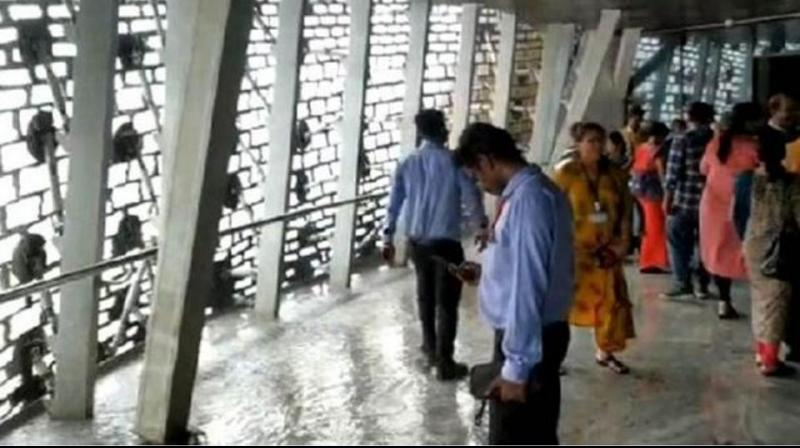 Rainwater made its way into the viewing gallery of the Statue of Unity in Gujarat, with tourists sharing videos of puddles on the floor and water dripping off the roof of the Rs 3,000 crore statue. (Photo: Twitter/ screengrab)