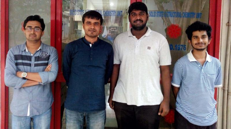 Researchers at the Solid State and Structural Chemistry Unit of the IISc Amit Kumar Simlandy, Biswajit Bhattacharyya, Arunavo Chakraborty and Guru Pratheep.