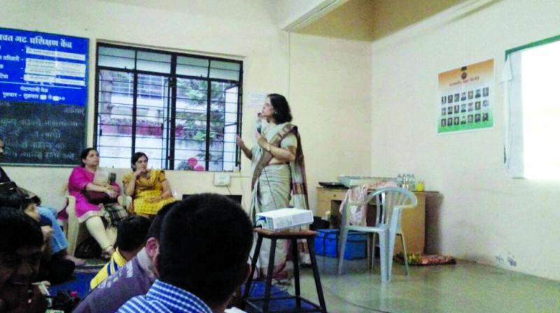 An expert holding a stress management workshop.