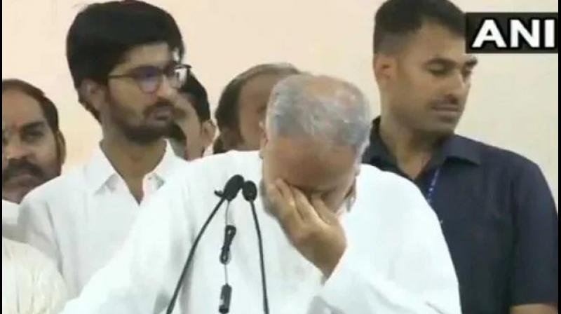 A video showed Chief Minister speaking at the podium, then paused for a moment and wiped his tears. (Photo: ANI | Twitter)