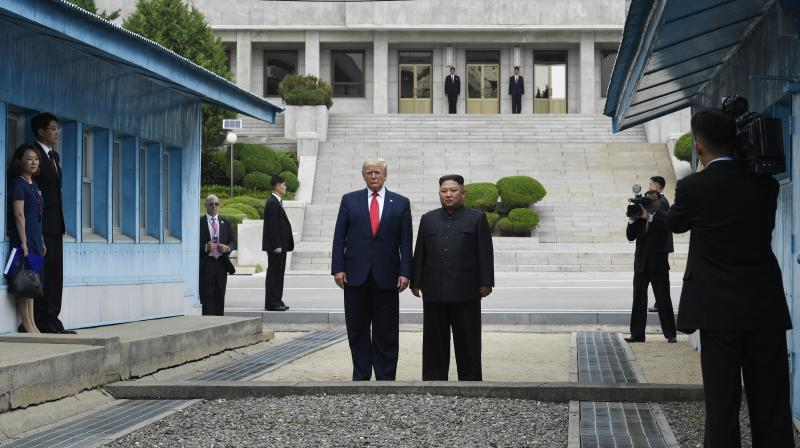 President Donald Trump met North Korean leader Kim Jong Un on the heavily fortified border between North and South Korea on Sunday. (Photo: AP)