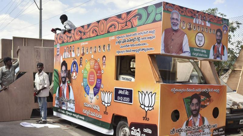 Workers prepare a campaign vehicle for the BJP, ahead of the GHMC elections, in Hyderabad, Thursday, Nov. 19, 2020. (PTI)