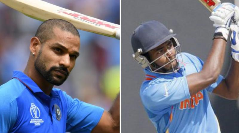 Shikhar Dhawan was ruled out of the T20 International series against the West Indies due to a knee injury, making way for Sanju Samson. (Photo: AFP)