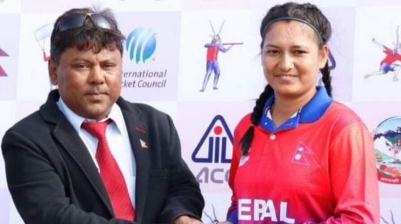 The 24-year-old Anjali Chanda dismissed six batswomen - all for nought - in 2.1 overs as Nepal bowled out Maldives, who elected to bat, for just 16 runs from 10.1 overs. (Photo: Twitter/ Nepal Cricket)