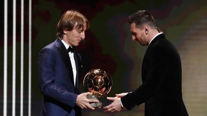 After handing out the Ballon d'Or award to Argentine striker Lionel Messi, Real Madrid's Luka Modric said that football is just not about winning, it is also about having respect for your team-mates and rivals. (Photo: Twitter)
