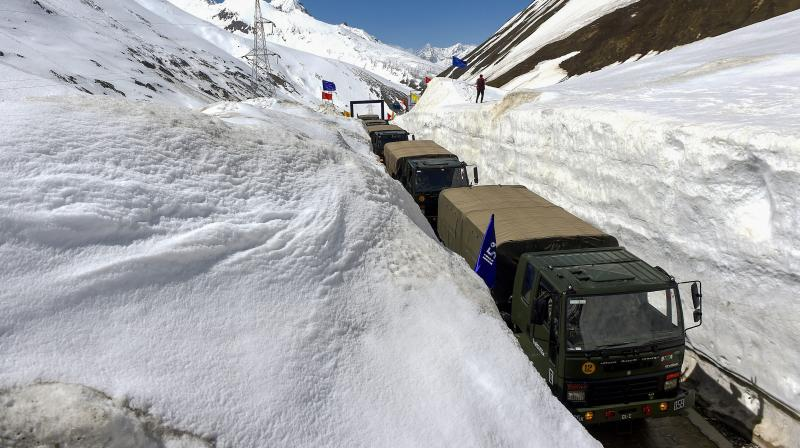 This year the ZojiLa Pass opened after a closure of 110 days, compared to an average of 150 days in previous years. — (Photo:PTI)