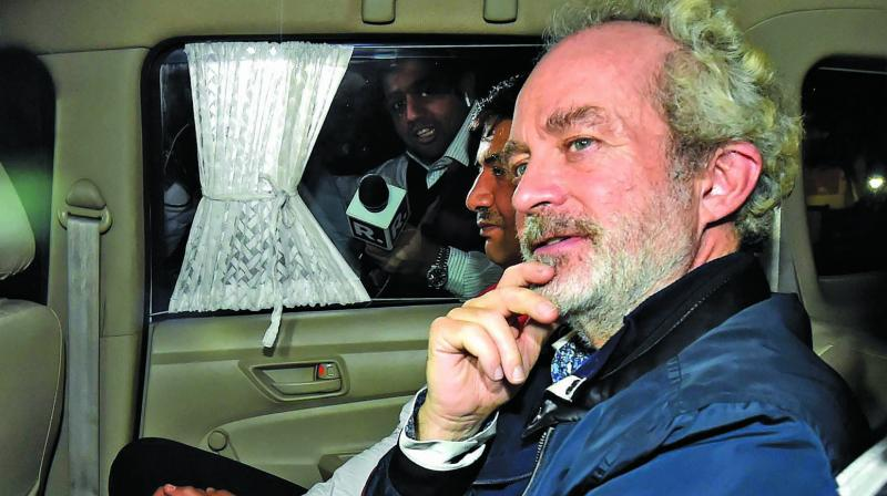 AgustaWestland scam accused middleman Christian Michel arrives at the CBI headquarters in New Delhi. (Photo: PTI)