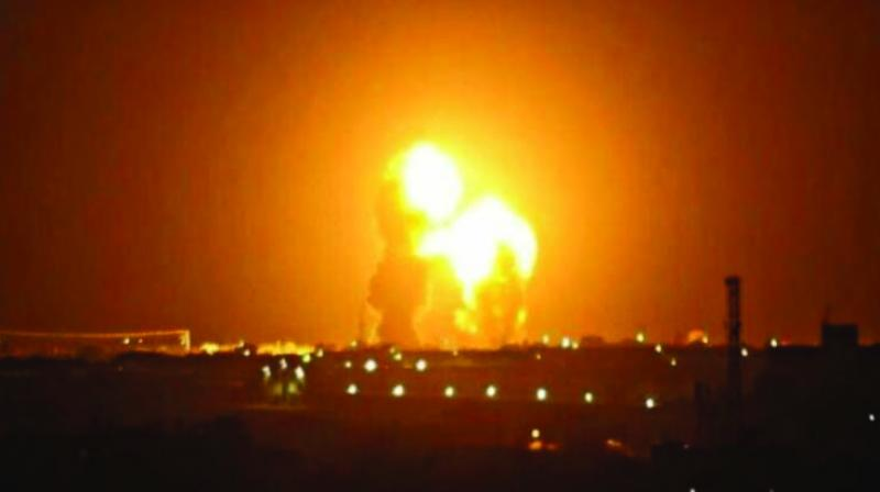 An image grab from footage obtained from the state-run Iran Press news agency on Wednesday allegedly shows rockets launched from the Islamic Republic against the US military base in Ein-al Asad in Iraq the prevous night. (Photo: Irna/Twitter)