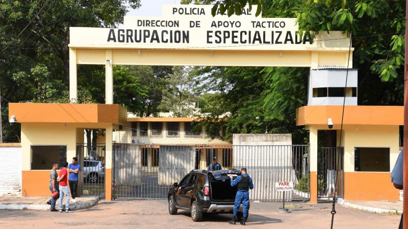 The National Police headquarters in Asuncion, where retired Brazilian footballer Ronaldinho and his brother Roberto Assis are held after being arrested for their irregular entry to the country. AFP Photo