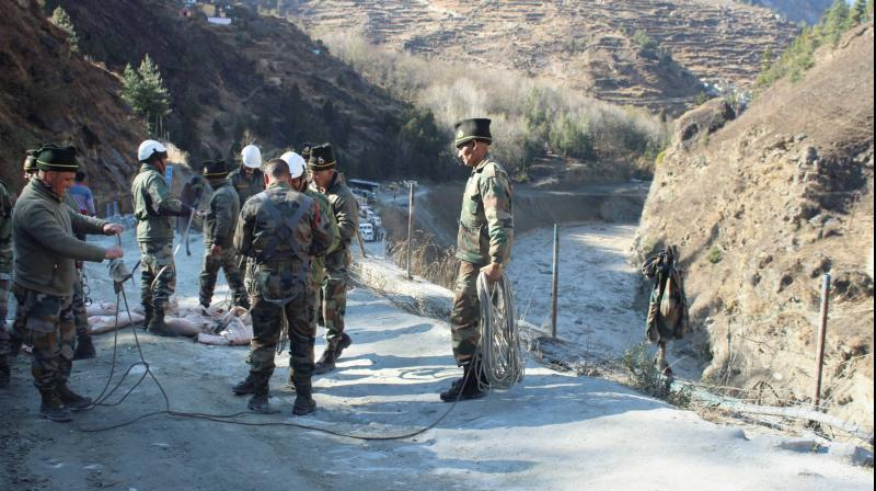 Rescue operations underway after a glacier broke off in Joshimath causing a massive flood in the Dhauli Ganga river, in Chamoli district of Uttarakhand on Sunday, February 7, 2021. (PTI)
