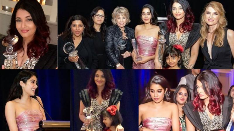 Pictures of Aishwarya Rai Bachchan hugging Aaradhya with her trophy at the event, and with Janhvi Kapoor and Zoya Akhtar. (Photos: Instagram)