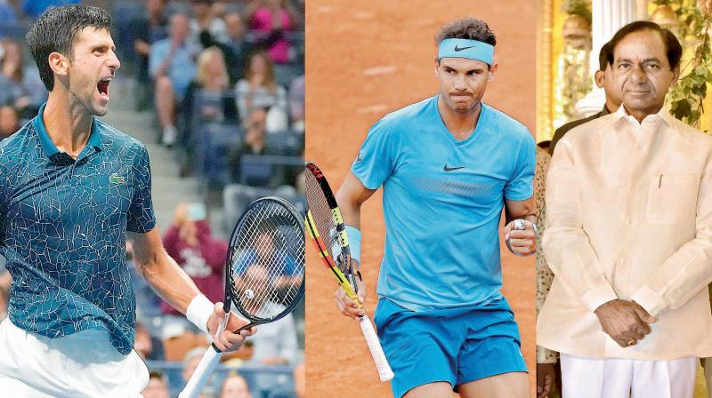 Even in the age of reason and science, the pull of superstition proves an irresistible force; (left to right) Novak Djokovic, Roger Federer and Telangana CM K. Chandrashekar Rao.
