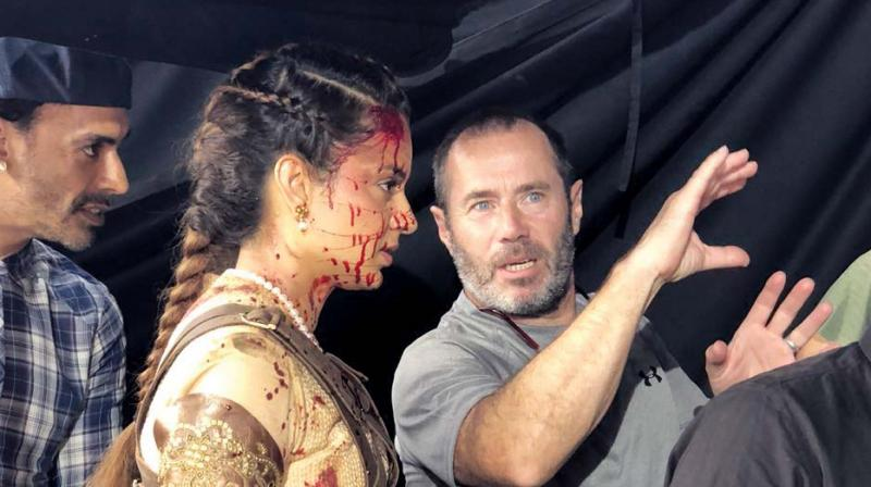 Kangana was recently spotted in blood while shooting an action sequence for the film.