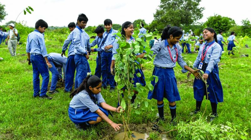 Schoolchildren plant saplings as they take part in a tree planting campaign in New Delhi on Saturday. The city government organised the initiative to plant thousands of tree saplings across the city on Saturday in an effort to fight air pollution, according to sources. (Photo: AFP)