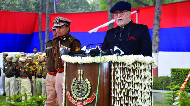 Lieutenant governor Anil Baijal addresses the gathering at the 72nd Raising Day ceremony in New Delhi. (Photo: Asian Age)