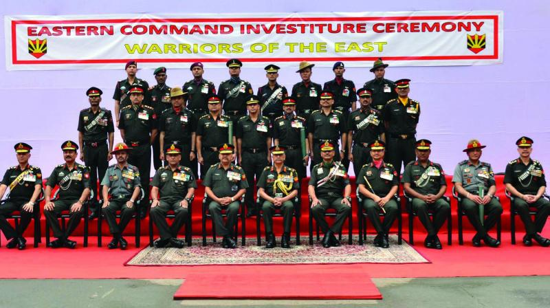 Eastern Army Commander Lieutenant General Manoj Mukund Naravane (centre) and all other ranks attends the investiture ceremony on Saturday wearing black armbands in memory of the CRPF jawans martyred in the Pulwama terror attack at Awantipura in Pulwama Fort William, Kolkata, on Saturday. (Photo: Abhijit Mukherjee)