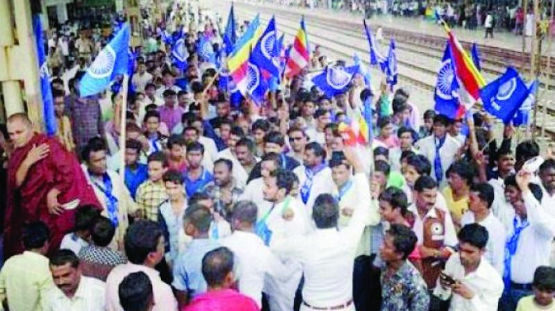 A file photo of people protesting the Bhima-Koregaon caste clashes in Pune.